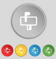 Mailbox icon sign Symbol on five flat buttons vector image