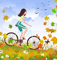 Beautiful girl is riding on a bicycle in a autumn vector