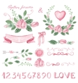 Watercolor pink floral decor set with numbers vector image