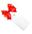 Card note with red gift bows with ribbons vector image