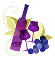 wineglassses and grape vector image