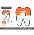 Filled tooth line icon vector image