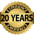 20 years experience golden label with ribbon vector image