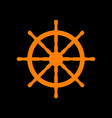 ship wheel sign orange icon on black background vector image