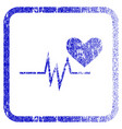 heart pulse signal framed textured icon vector image