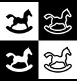 horse toy sign  black and white icons and vector image