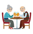 happy grandparents drink beer vector image