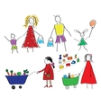 Childrens drawings with the family and the child vector image