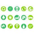 green eco button icons set vector image