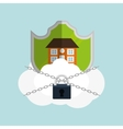 home security cloud padlock chain vector image