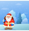 santa claus in a winter forest vector image