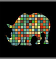 rhinoceros mammal color silhouette animal vector image