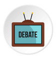 retro tv with debate word on the screen icon vector image vector image