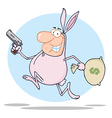 Easter bunny bandit cartoon vector image