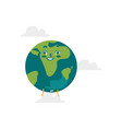 cartoon flat globe happy character vector image