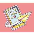 yellow paper plane flying around mobile p vector image