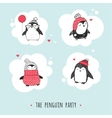 Cute hand drawn penguins set - greetings cards vector image vector image