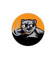 Black Bear Sunglasses Cigar Circle Woodcut vector image