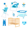 bedroom furniture for newborn boy on white vector image
