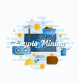 cryptocurrency mining abstract flat style vector image