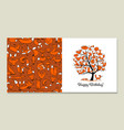greeting card with foxy tree design vector image