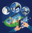 isometric smart home management concept vector image