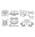 line icon set for national grandparents day vector image