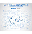Mechanical Engineering concept with Doodle design vector image