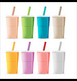 plastic color glass tea juice vector image