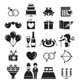 Wedding Icons Set Monochrome vector image