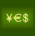 yes in form money symbol 3d vintage vector image