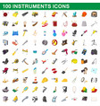 100 instruments icons set cartoon style vector image
