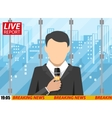 News reporter men with microphone office building vector image