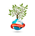 ecology concept tree with globe and ribbon vector image vector image