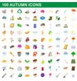 100 autumn icons set cartoon style vector image