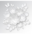 white paper flowers composition card vector image