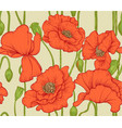 seamless pattern of red poppies vector image vector image