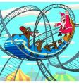 Santa Claus on roller coaster vector image