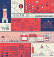 CITY IN LINE ART FLAT ICONS OUTLINE STYLE vector image