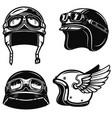 set of racer helmets on white background design vector image