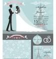 Wedding invitation setBridegroomParis Winter vector image