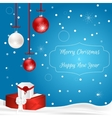 Christmas card with hanging balls and gift boxes vector image