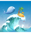 A high wave with a dolphin and an island with an vector image vector image