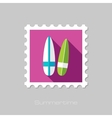 Surfboard flat stamp with long shadow vector image