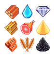 Pixel resources for games icons set vector image vector image
