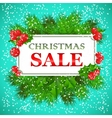 Christmas Sale Card design with holly and fir vector image
