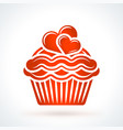 capcake with hearts st valentines day design vector image
