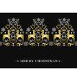 Christmas gold winter deer pattern background vector image