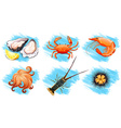 Different type of seafood vector image