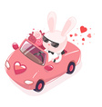 pink bunny riding in red car with a bouqu vector image